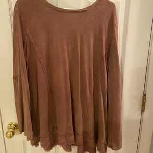 Rust colored acid washed blouse from Altar'd state
